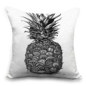 Taie d'oreiller 45×45 Ananas Noir et Blanc
