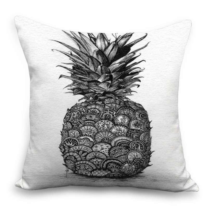 Coussin ananas impression noir et blanc