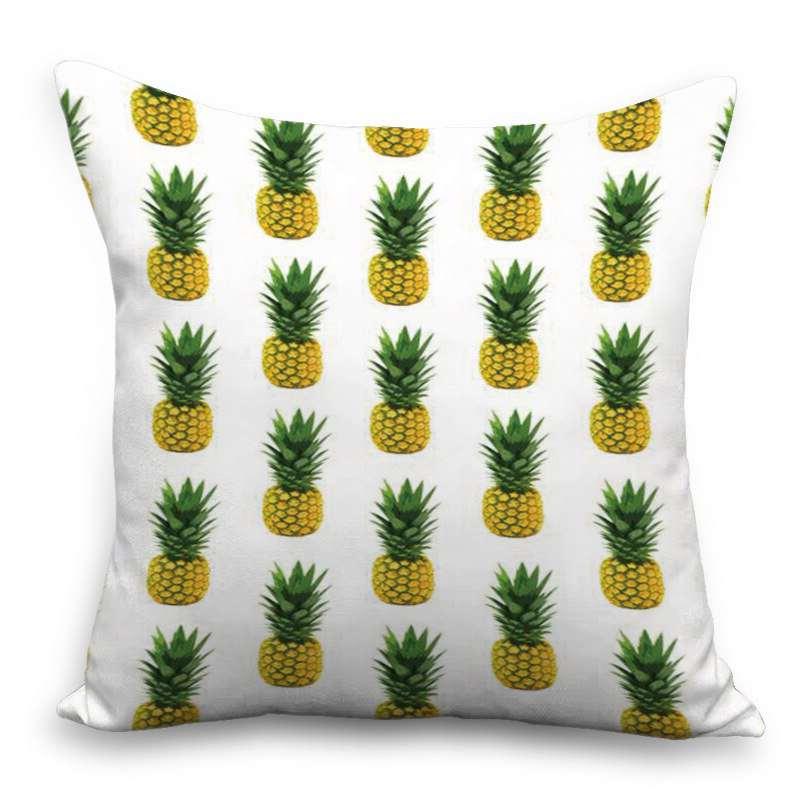 coussin imprimé de multiples motif ananas