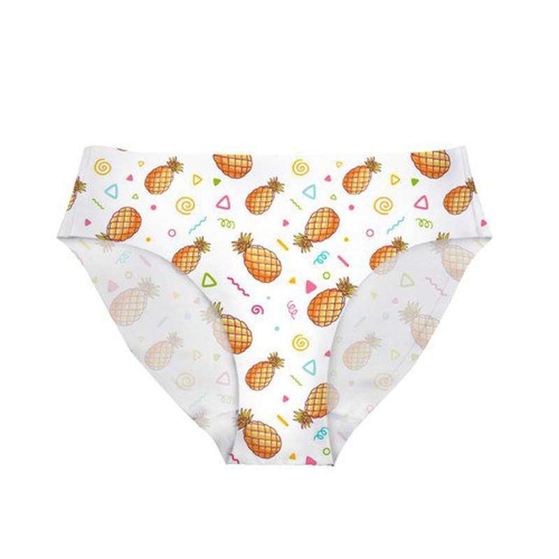 culotte ananas blanches festive avec triangles, spirales et rubans