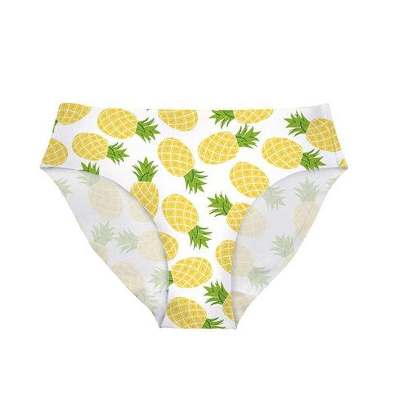 culotte ananas avec imprimés motiff ananas jaune et vert, culotte blanche extensible coutures invisible
