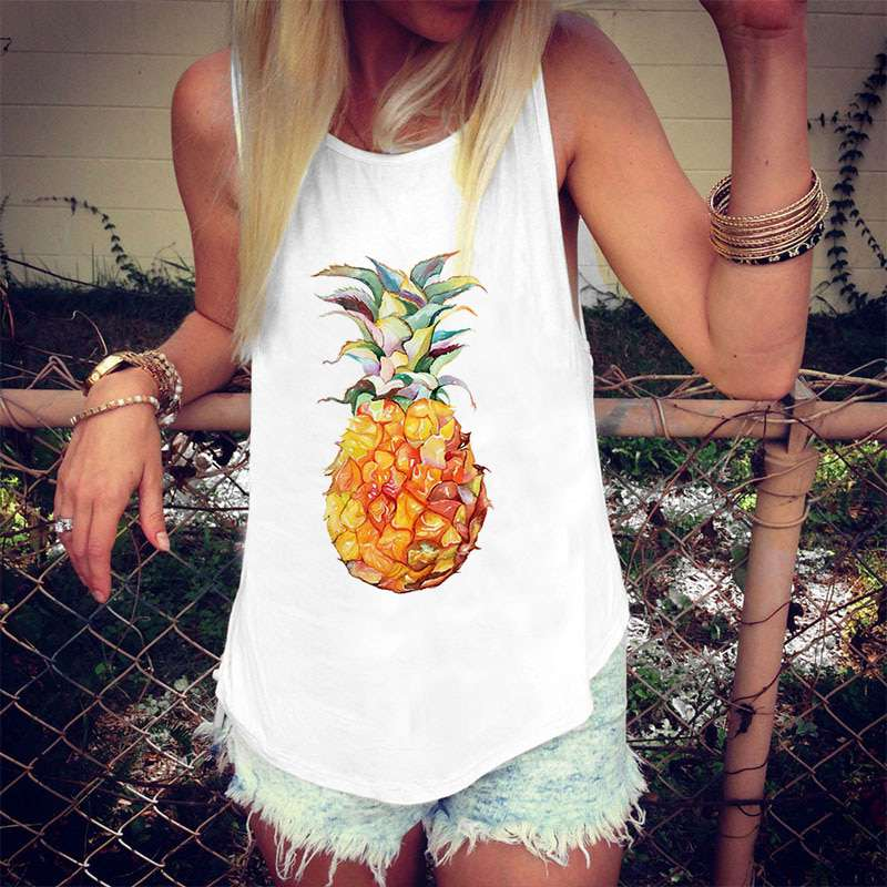 débardeur exotique motif ananas pour femme