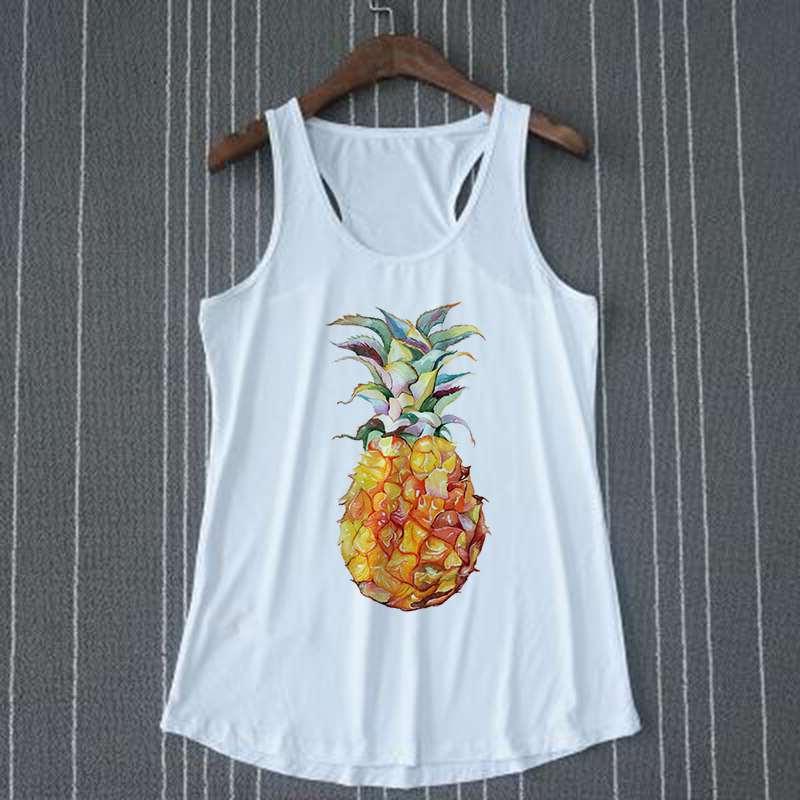 débardeur exotique motif ananas pour femme sur cintre