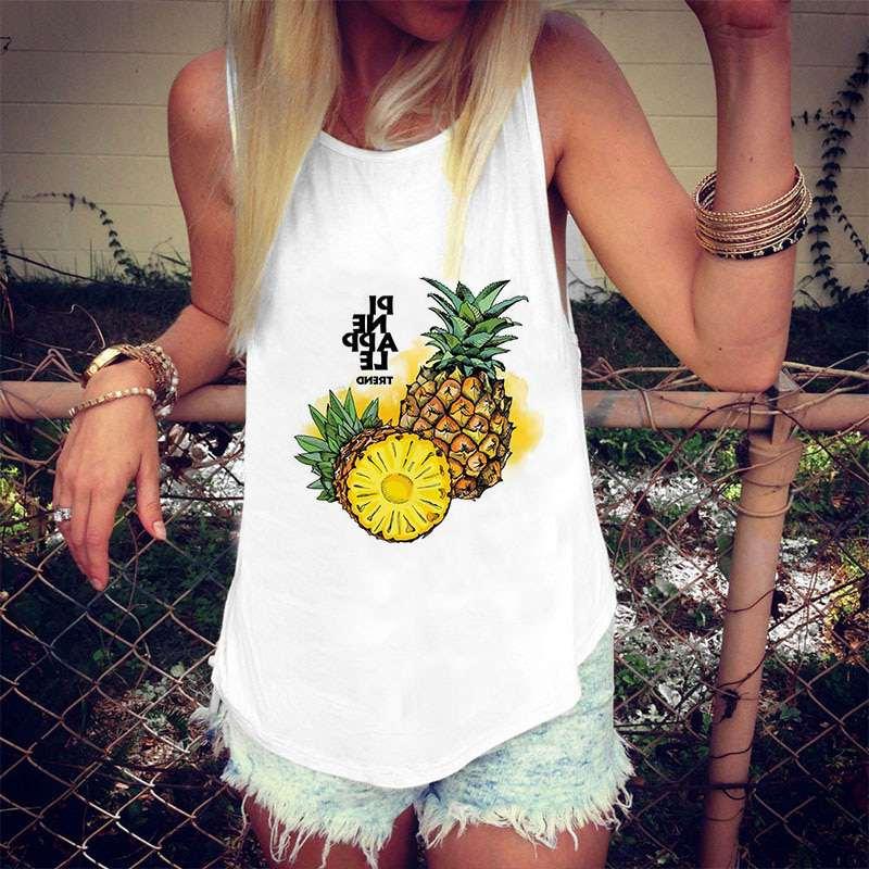 """débardeur motif ananas et texte """"pineapple trend"""" sur femme"""