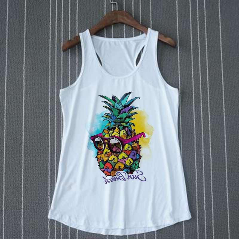 """debardeur ananas pour femme a lunette inscription """"sun beach"""" sur cintre"""