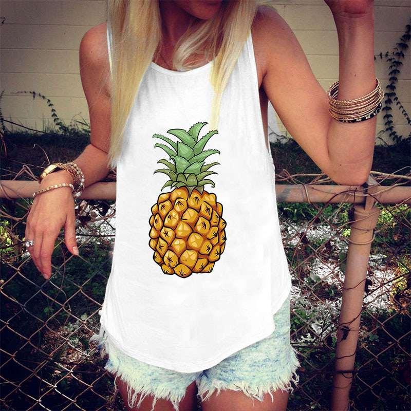 débardeur motif ananas tropical pour femme