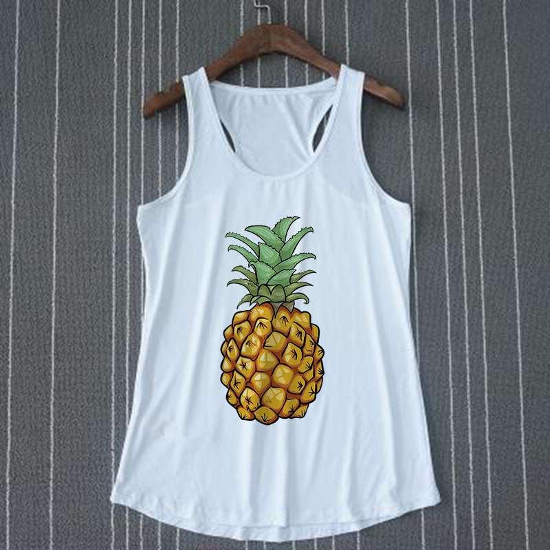 débardeur ananas tropical pour femme sur cintre