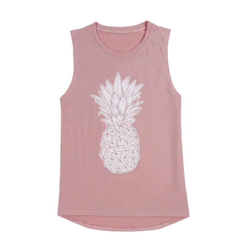 débardeur ananas rose imprimé d'un fruit blanc pour femme