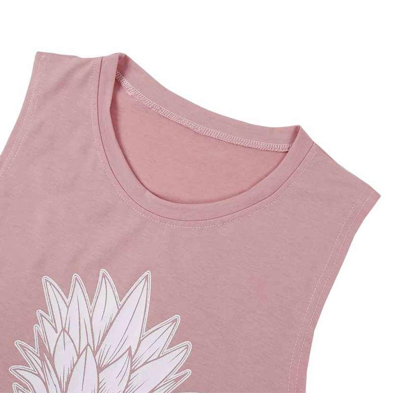 débardeur motif ananas rose pour femme zoom col