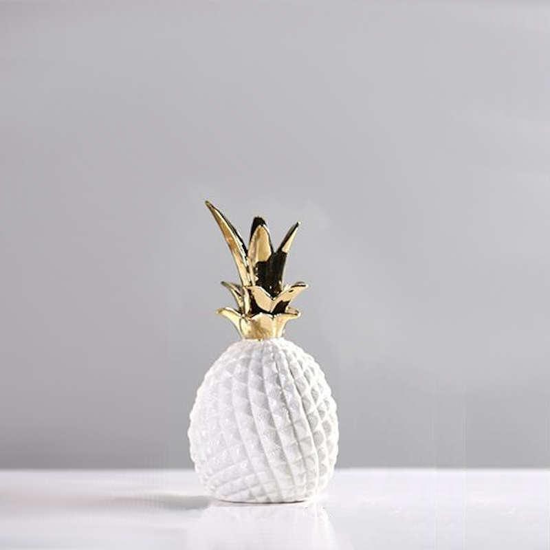 déco ananas blanc et doré en résine