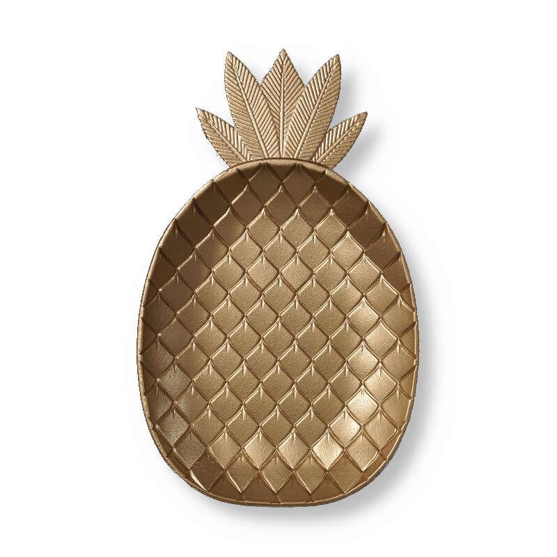 déco ananas, plat doré en bois