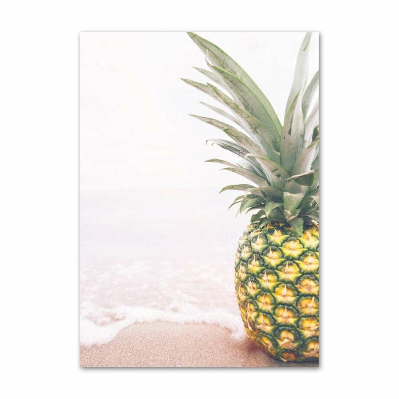 Deco ananas tableau ananas, ananas sur un plage sable couleur rose