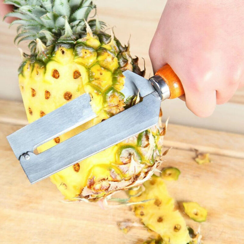 Decoupe ananas, eplucheur ananas avec lame acier et manche en bois