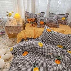 Housse de Couette Ananas <br>Parure de Lit à Carreaux