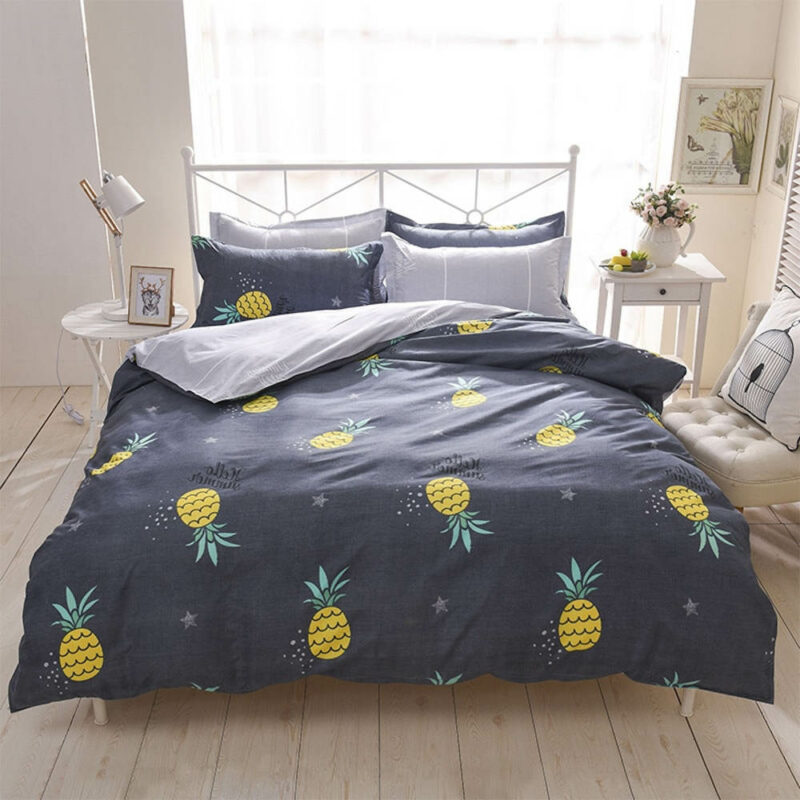 housse de couette ananas bleu nuit étoilée