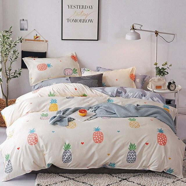 Housse de Couette Ananas, parure de lit avec ananas multicolores 1 personne ou 2 personnes