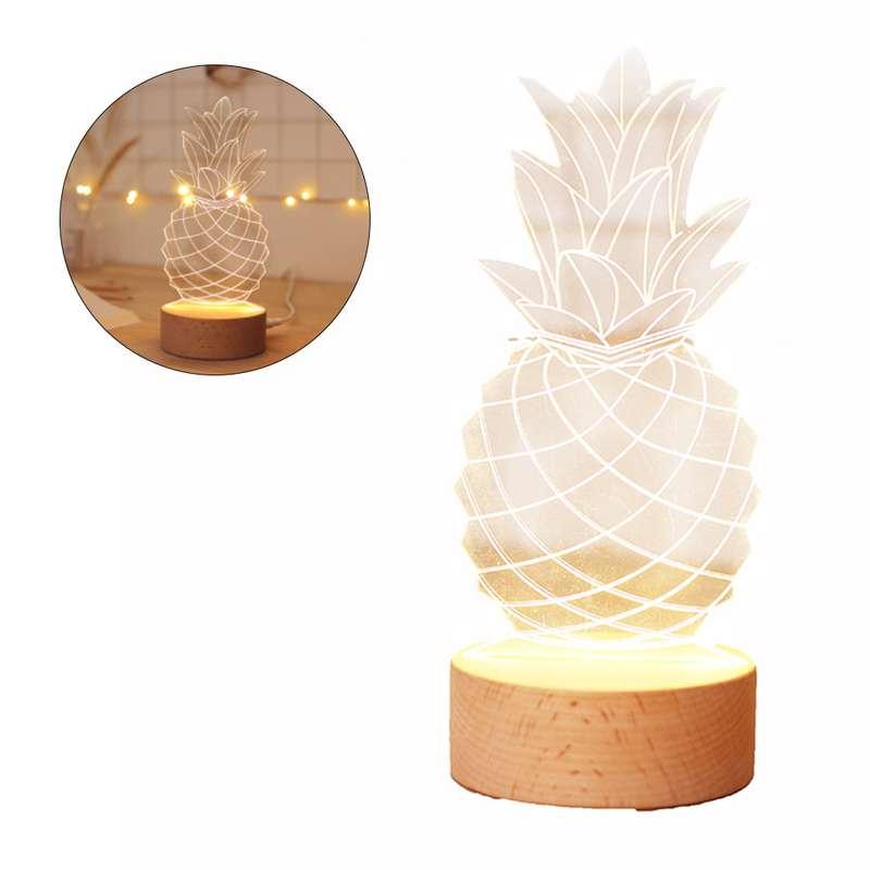lampe ananas 3D usb avec pied en bois
