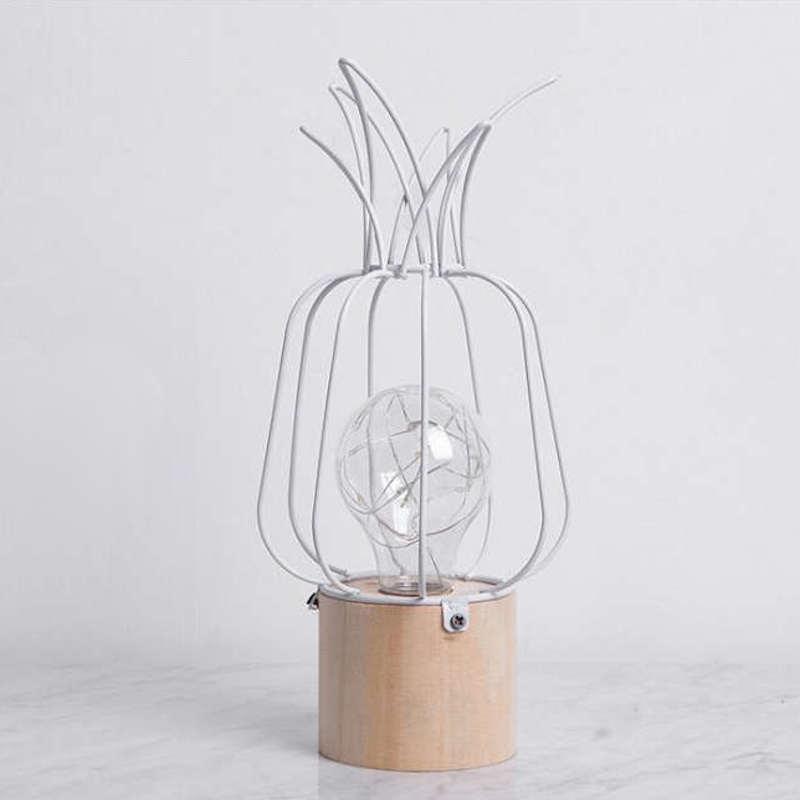lampe led ananas bois et métal blanche
