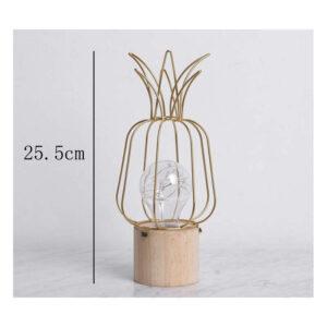 Lampe ananas en bois et métal dorée