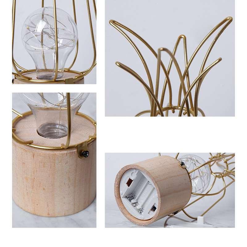 lampe ananas bois metal dore détails