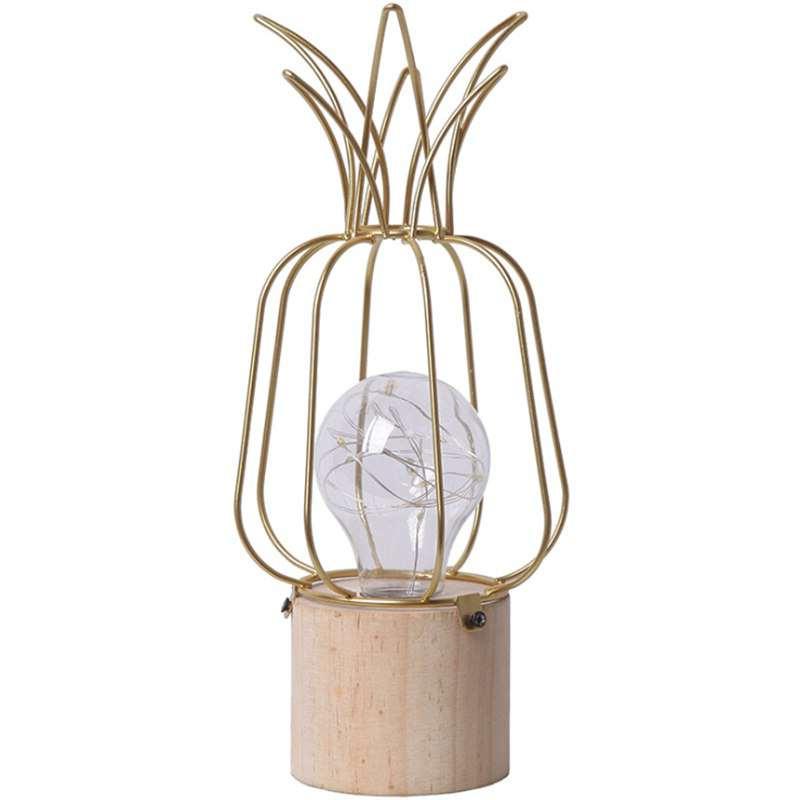 lampe ananas en bois et métal doré