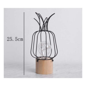 Lampe ananas en bois et métal noire