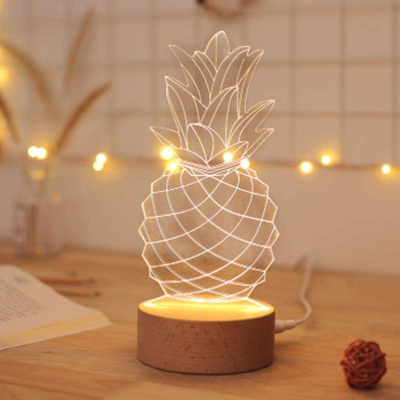 lampe ananas effet 3D usb style fil de fer avec socle en bois