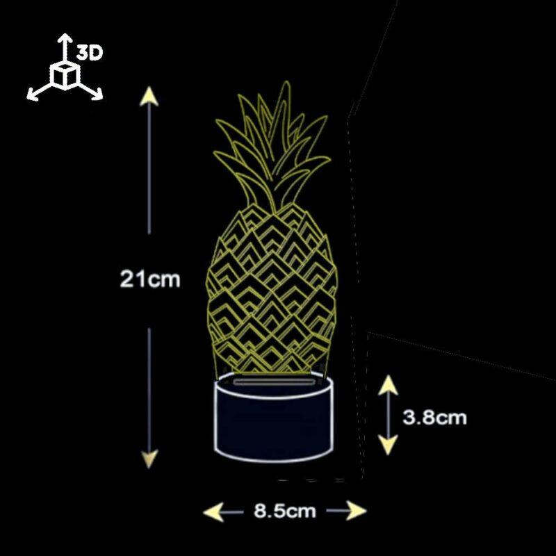 lampe ananas multicolore dimensions