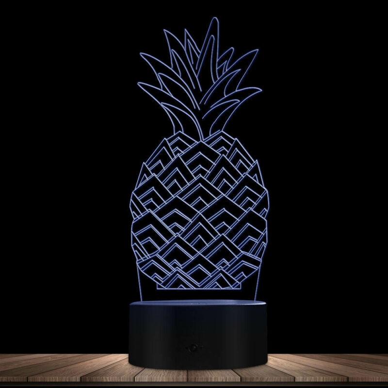 lampe ananas multicolore blanche