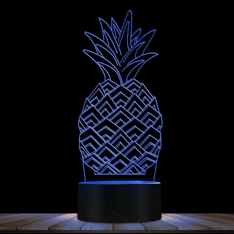 lampe ananas multicolore bleue