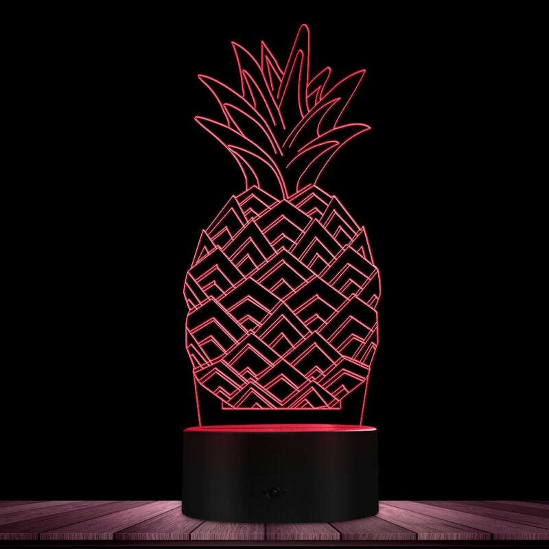 lampe ananas multicolore rouge