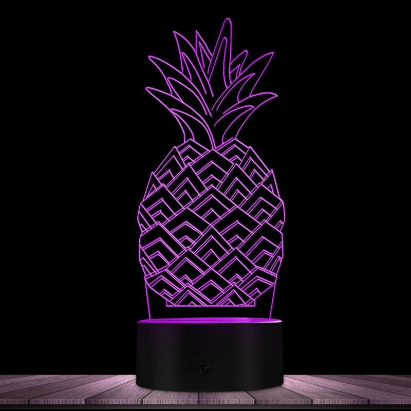 lampe ananas multicolore violette
