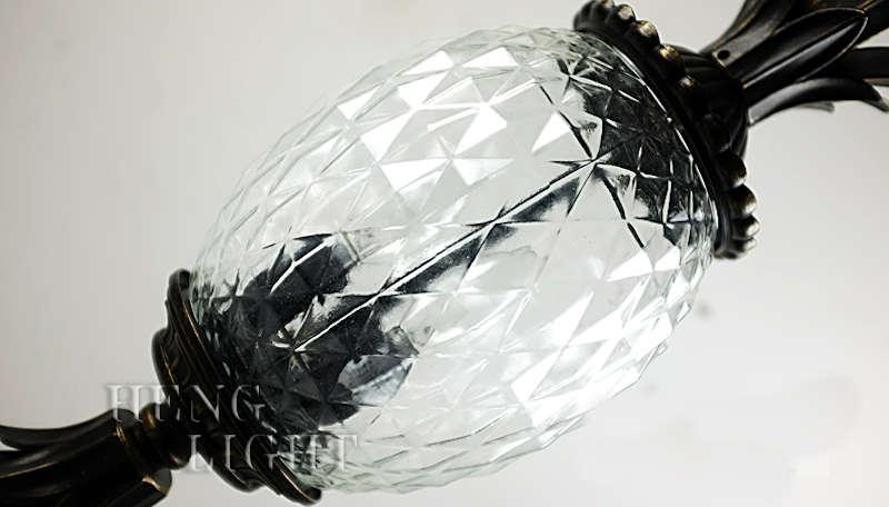 lampe ananas lanterne noire aspect vieilli