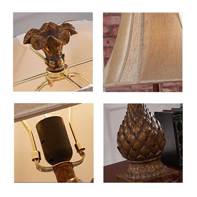 lampe ananas style rétro en bois et en tissu
