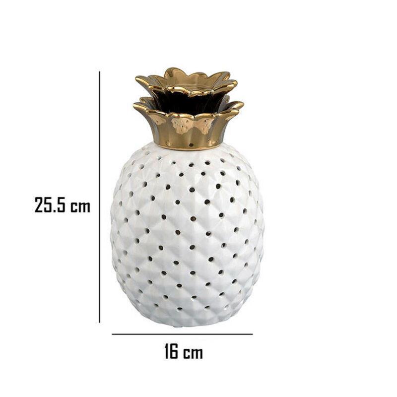 lampe ananas céramique blanche et dorée dimensions