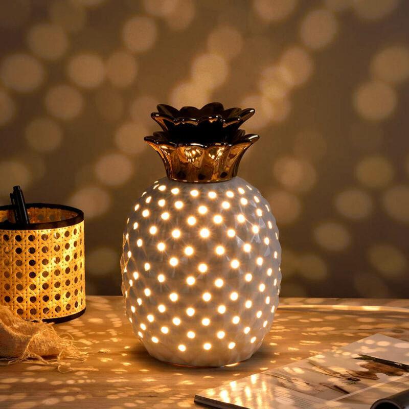 lampe céramique ananas blanche et or scandinave
