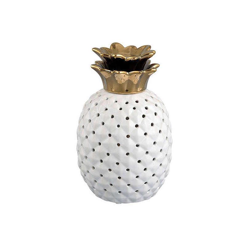 lampe céramique ananas blanche et dorée scandinave