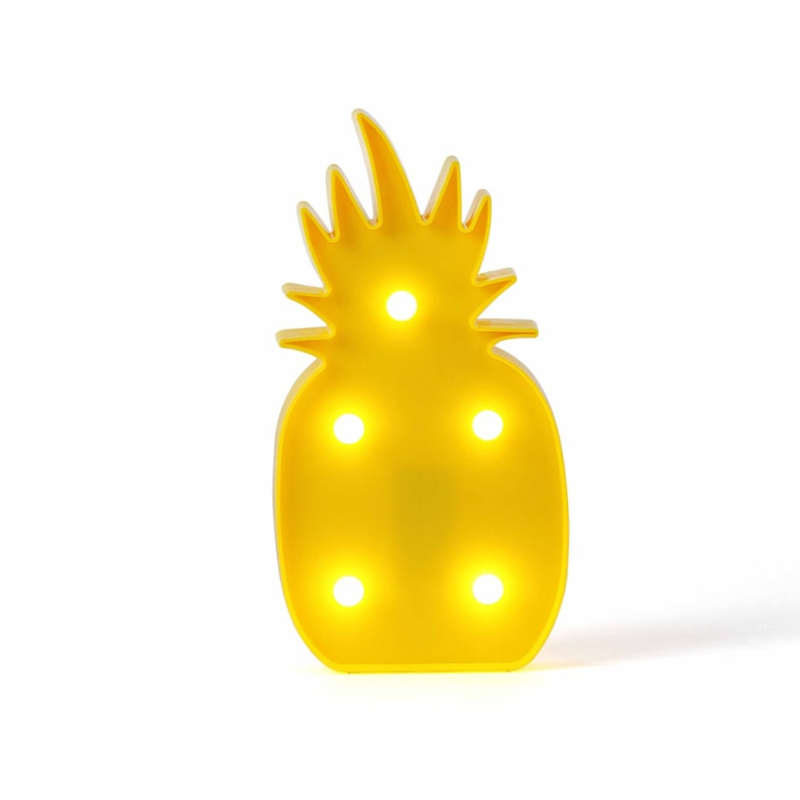 lampe de chevet en forme d'ananas jaune avec 5 leds blanches