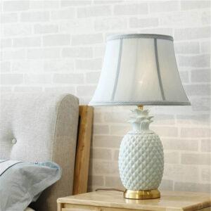 Lampe Ananas de Table en Céramique Blanche