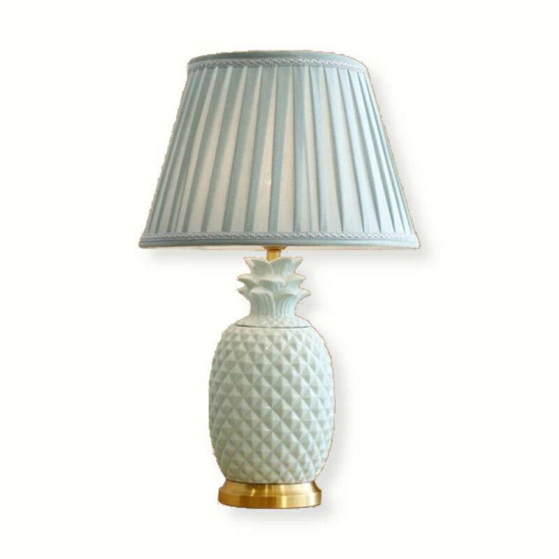 lampe ananas à pied en céramique de couleur blanche