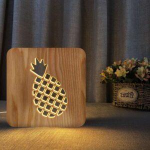 Lampe veilleuse ananas géométrique en bois