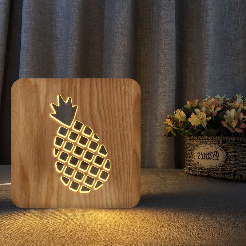 lampe veilleuse ananas géométrique découpée dans du bois