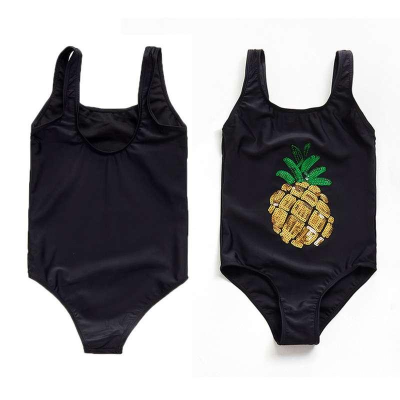 maillot de bain ananas noir pour fille avec paillettes dorées monokini