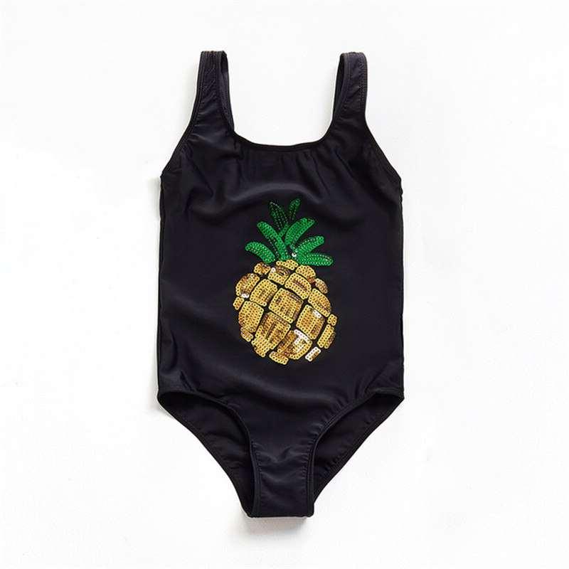 maillot de bain ananas pour fille, une pièce avec paillettes dorées