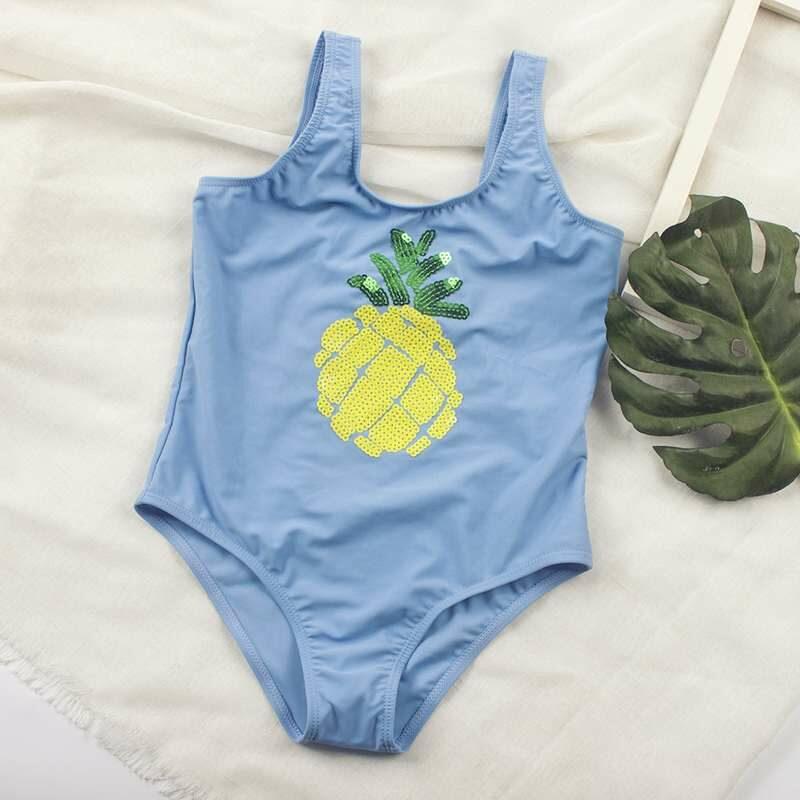 maillot de bain bleu clair motif ananas à paillettes jaunes pour fille