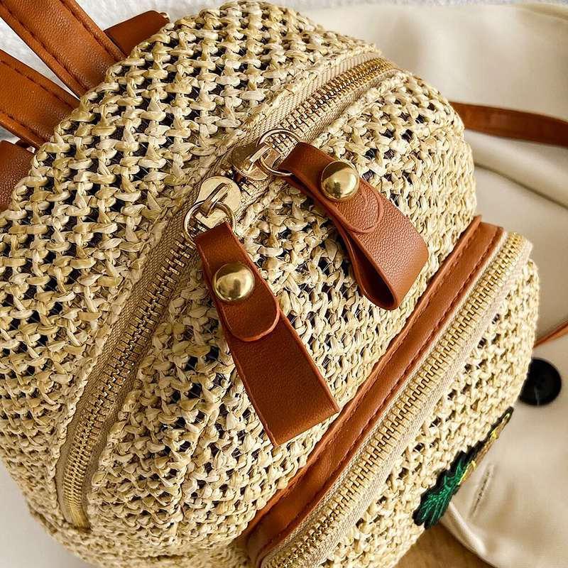 mini sac à dos motif ananas en paille et cuir