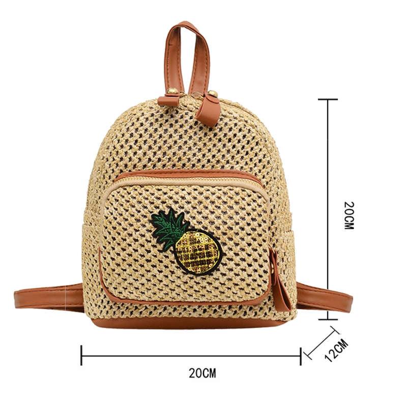 mini sac à dos motif ananas paille dimensiosn
