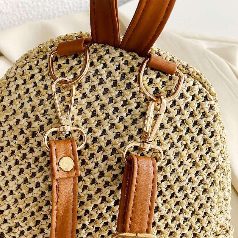 mini sac à dos imprimé de motifs ananas en paille pour femme