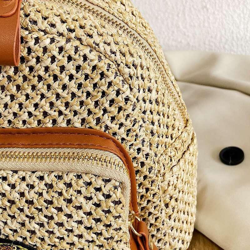 mini sac à dos motif ananas paille fermeture éclair