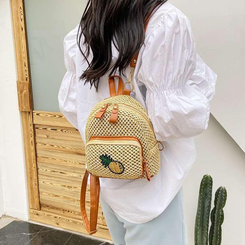 mini sac à dos motif ananas paille pour fille
